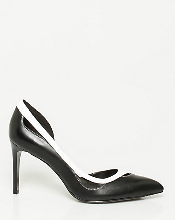 Leather-Like Pointy Toe Cutout Pump
