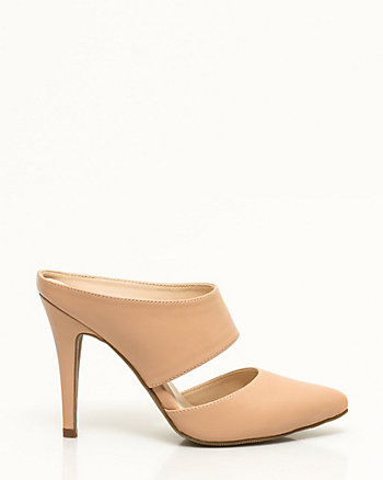 Faux Leather Pointy Toe Mule