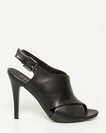 Faux Leather Criss-Cross Slingback