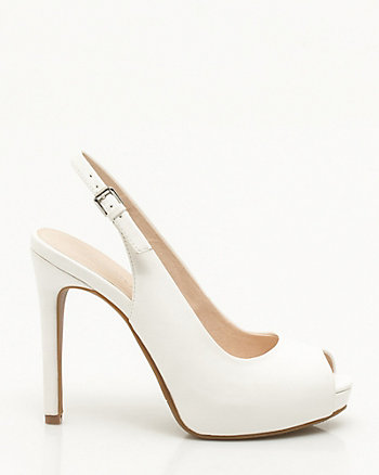 Leather-Like Platform Slingback
