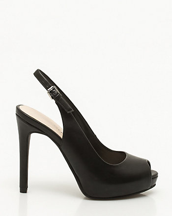 Faux Leather Platform Slingback