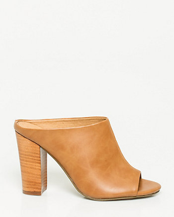 Leather-Like Open Toe Mule