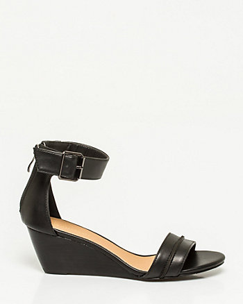 Leather-Like Open Toe Wedge