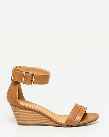 Faux Leather Open Toe Wedge