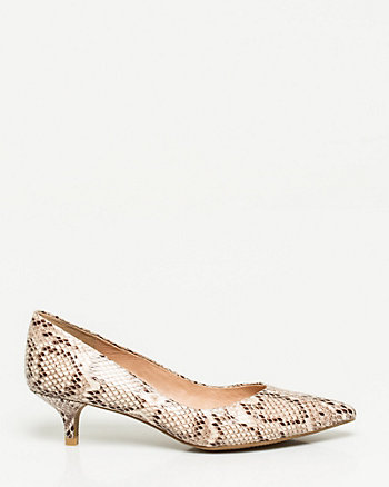 Snake Print Leather-Like Pump