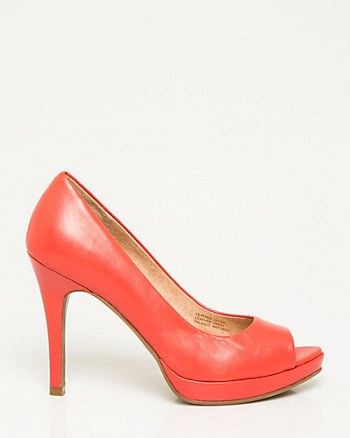 Leather Platform Peep Toe Pump