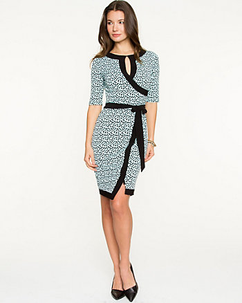 Brushstroke Print Knit Faux-Wrap Dress