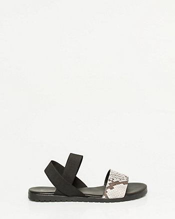 Snake Embossed Leather & Elastic Sandal