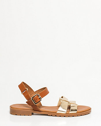 Metallic Leather Double Band Sandal