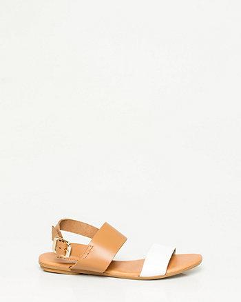 Sandale à deux bandes en cuir