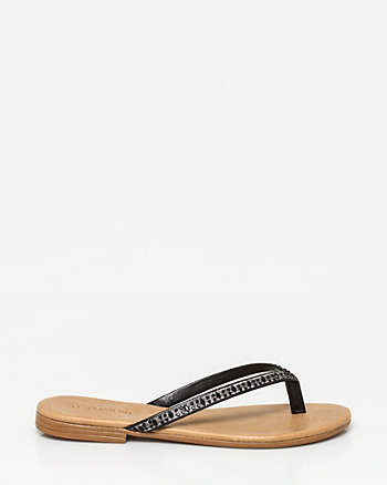 Italian-Made Faux Leather Thong Sandal