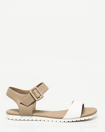 Faux Leather One Band Sandal