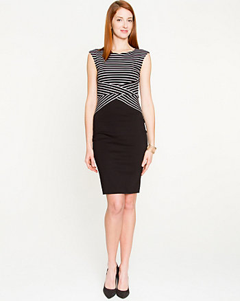Stripe Ponte Boat Neck Dress