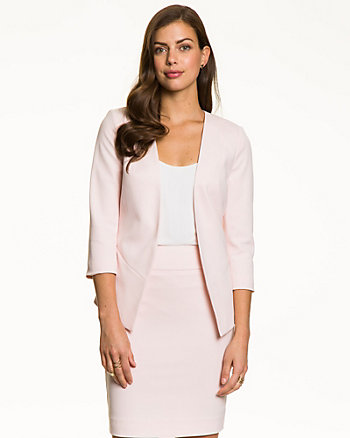 Crêpe Collarless Blazer