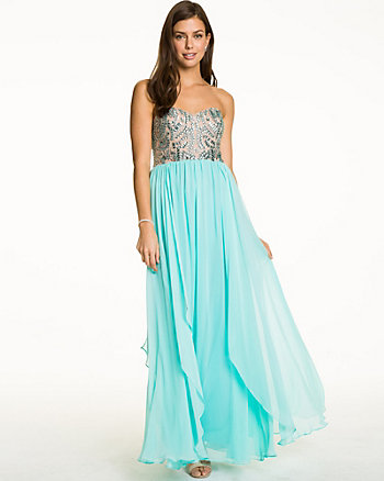 Jewel & Chiffon Strapless Gown