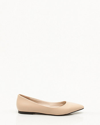 Leather Pointy Toe Ballerina