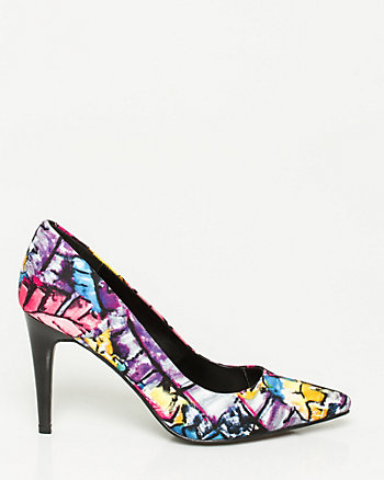 Floral Textile Pointy Toe Pump