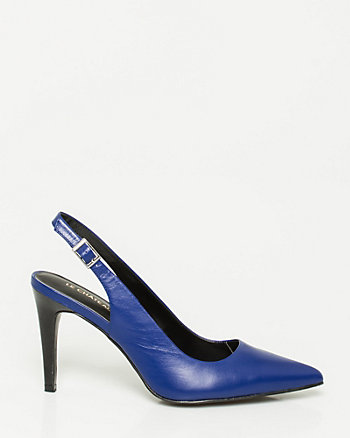 Leather Pointy Toe Slingback