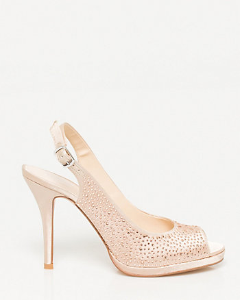 Jewelled Satin Peep Toe Slingback Pump