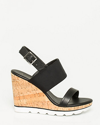 Leather-Like Double Band Wedge