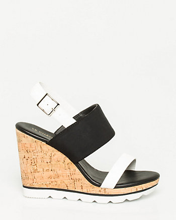 Faux Leather Double Band Wedge