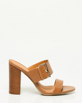 Leather-Like Double Band Mule