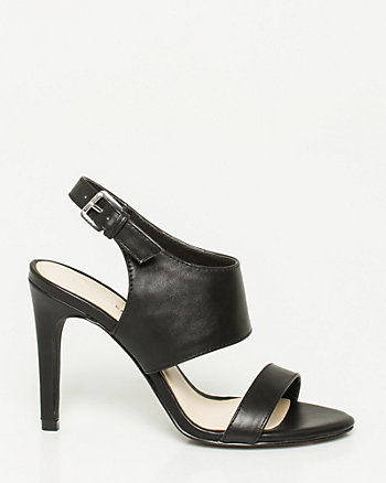 Faux Leather Double Band Slingback