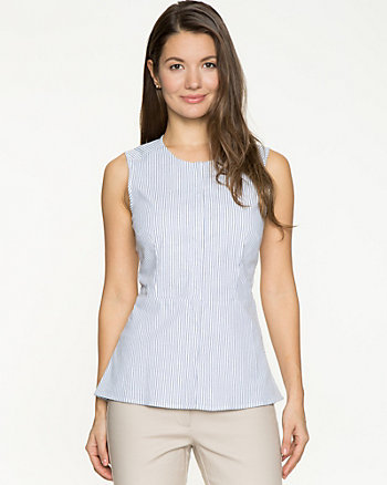Stretch Poplin Peplum Blouse