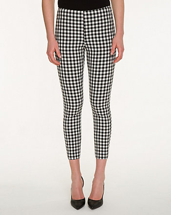 Gingham Stretch Woven Slim Leg Crop Pant