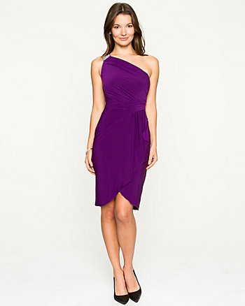 Knit Wrap Asymmetrical Dress