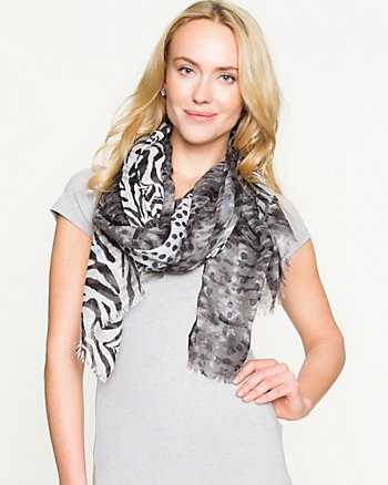 Mixed Animal Print Lightweight Scarf