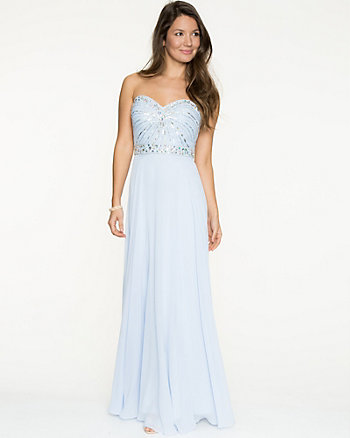 Chiffon Jewel Embellished Sweetheart Gown