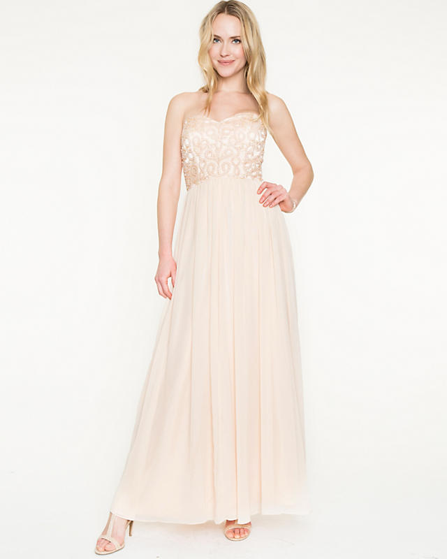 Embellished Chiffon Strapless Gown | LE CHÂTEAU