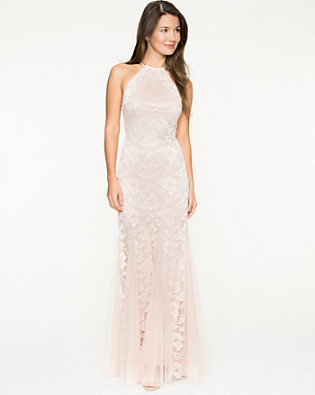 Lace Halter Mermaid Gown