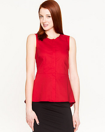 Stretch Poplin Sleeveless Blouse