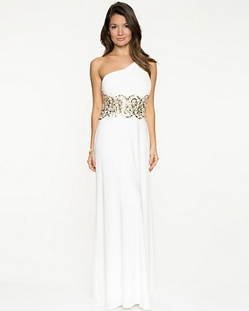 Knit One-Shoulder Embellished Waist Gown