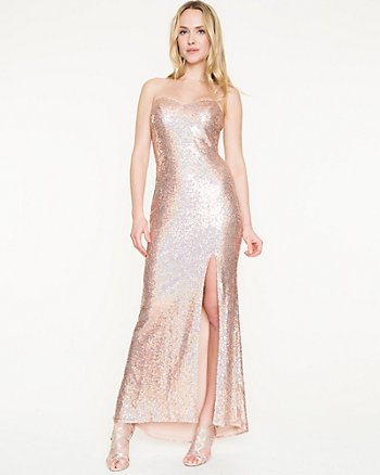 Allover Sequin Sweetheart Gown