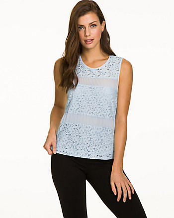 Lace & Chiffon Sleeveless Blouse