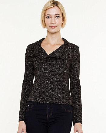Tweed Zip-Front Moto Blazer