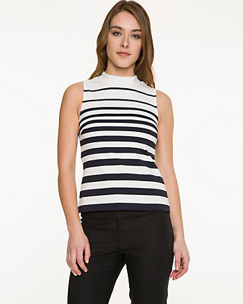 Stripe Ponte Mock Neck Top