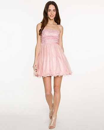 Lace & Mesh Strapless Dress