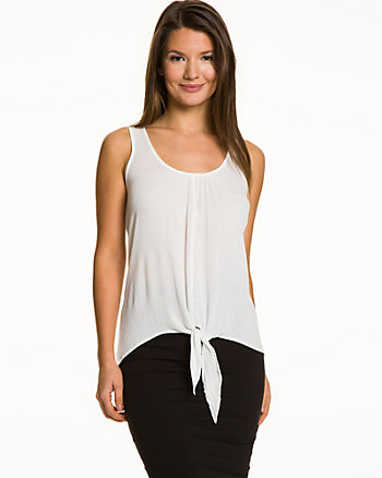 Crêpe de Chine Sleeveless Front Tie Blouse