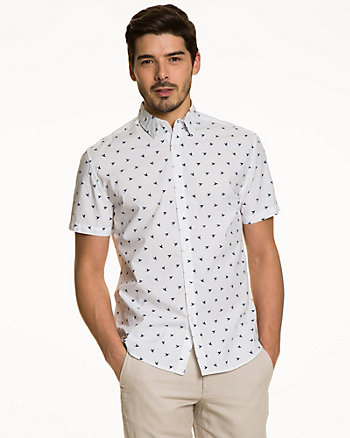 Seagull Print Cotton Tailored Fit Shirt