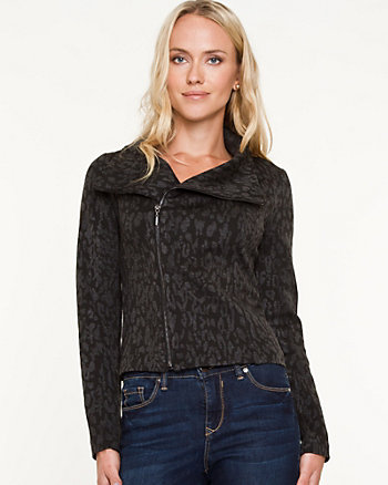 Sweater Knit Moto Blazer