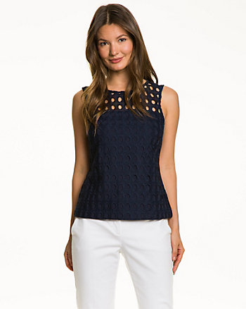 Eyelet Knit Lined Illusion Top