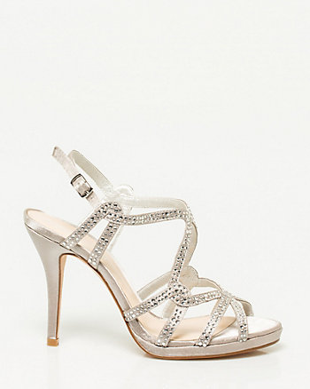 Jewelled Satin Strappy Sandal