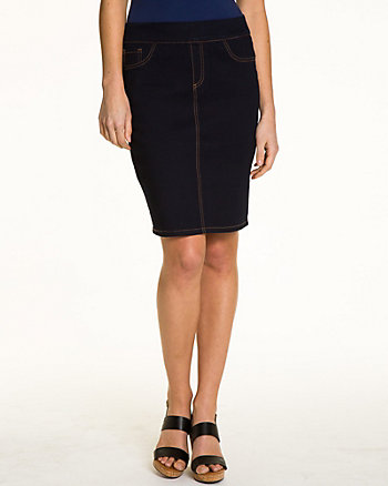 Stretch Denim Pencil Skirt