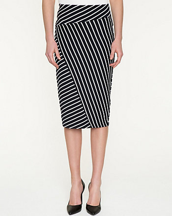 Stripe Cotton Blend Midi Skirt