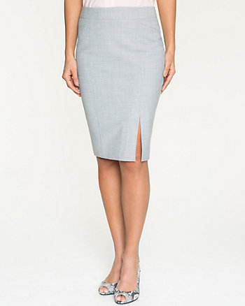 Crosshatch Wool Blend Pencil Skirt