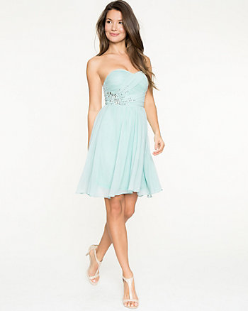 Crêpe Chiffon Jewel Embellished Dress